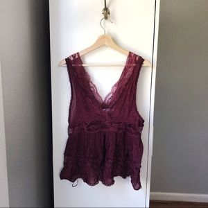 Intimately Free Free People Oxblood lace crop tank